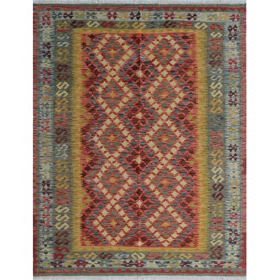Vallejo Kilim Lida Hand-Woven Wool Red Area Rug