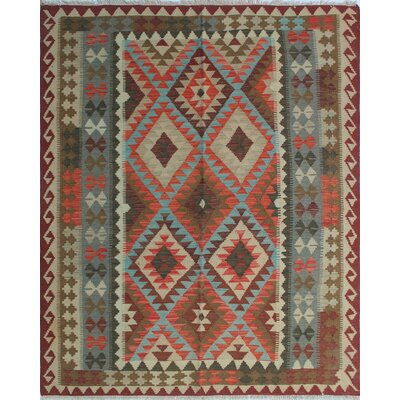 One-of-a-Kind Rucker Kilim Naseem Hand-Woven Wool Rust Area Rug