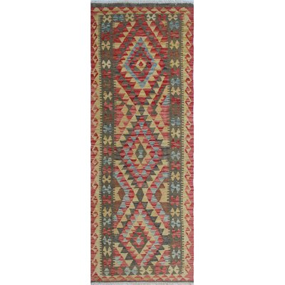 Vallejo Kilim Nisar Hand-Woven Wool Red Area Rug