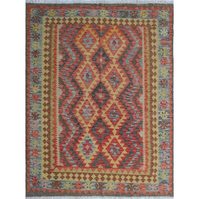 One-of-a-Kind Vallejo Kilim Zar Dasht Hand-Woven Wool Red Area Rug