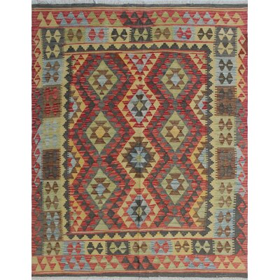 Vallejo Kilim Rabeha Hand-Woven Wool Red Area Rug