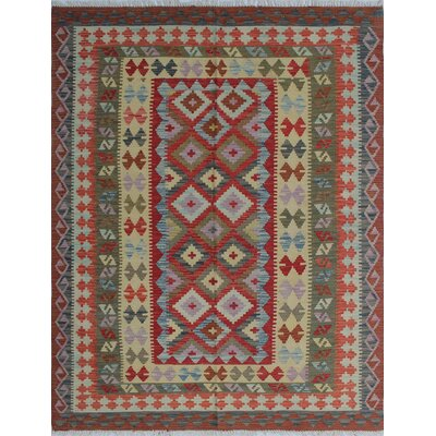 Vallejo Kilim Hazrat Hand-Woven Wool Red Area Rug