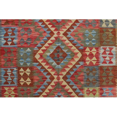 One-of-a-Kind Vallejo Kilim Patra Hand-Woven Wool Red Area Rug