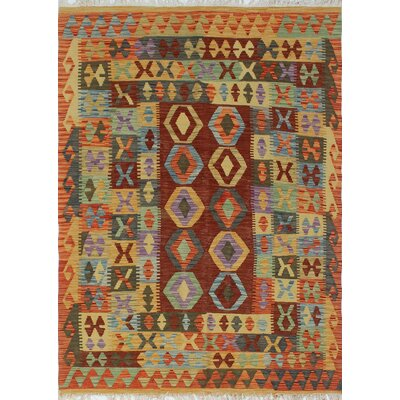 Vallejo Kilim Isaaq Hand-Woven Wool Rust Area Rug