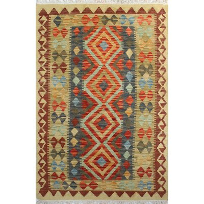 One-of-a-Kind Vallejo Kilim Nazaneen Hand-Woven Wool Gold Area Rug