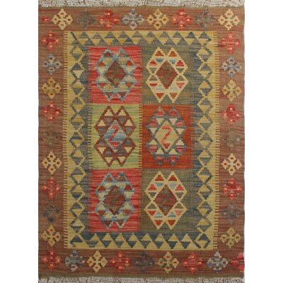 One-of-a-Kind Rucker Kilim Iqbal Hand-Woven Wool Brown Area Rug