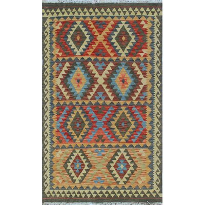 One-of-a-Kind Vallejo Kilim Woshila Hand-Woven Wool Grey Area Rug