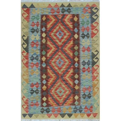 One-of-a-Kind Rucker Kilim Zam-Zama Hand-Woven Wool Blue Area Rug