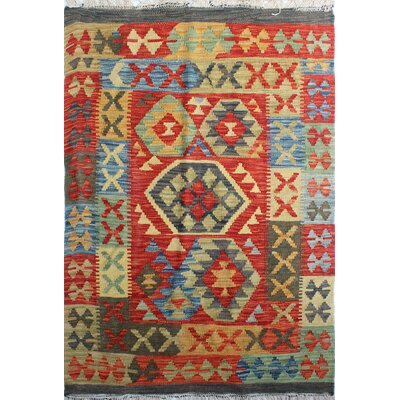 One-of-a-Kind Rucker Kilim Zahir Hand-Woven Wool Red Area Rug