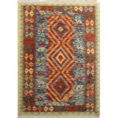 One-of-a-Kind Rucker Kilim Heelai Hand-Woven Wool Gold Area Rug