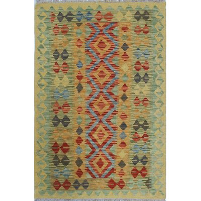 One-of-a-Kind Rucker Kilim Regina Hand-Woven Wool Gold Area Rug