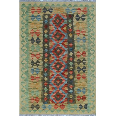 One-of-a-Kind Vallejo Kilim Aqela Hand-Woven Wool Beige Area Rug