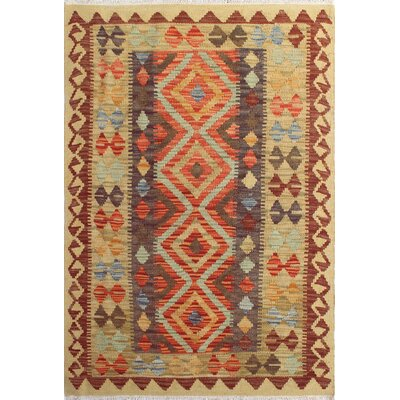 One-of-a-Kind Rucker Kilim Noorahmed Hand-Woven Wool Gold Area Rug