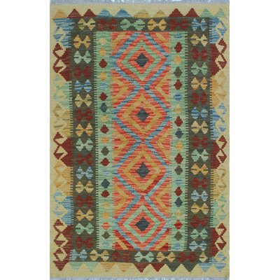 One-of-a-Kind Vallejo Kilim Afeeza Hand-Woven Wool Beige Area Rug