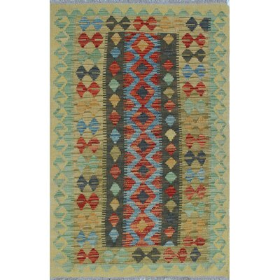 One-of-a-Kind Vallejo Kilim Sadaf Hand-Woven Wool Gold Area Rug