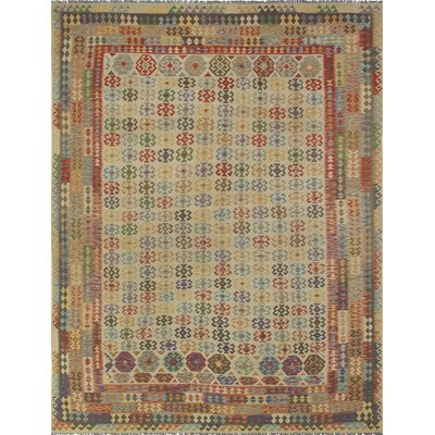 One-of-a-Kind Vallejo Kilim Jahan Hand-Woven Wool Beige Area Rug