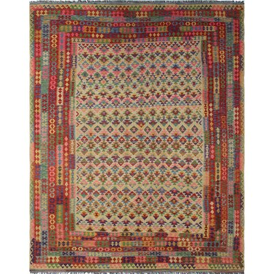 One-of-a-Kind Rucker Kilim Nabi Hand-Woven Wool Beige Area Rug