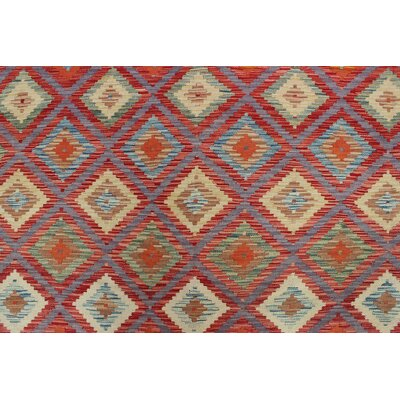 Vallejo Kilim Patris Hand-Woven Wool Red Area Rug