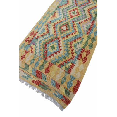 One-of-a-Kind Vallejo Kilim Lailuma Hand-Woven Wool Gold Area Rug