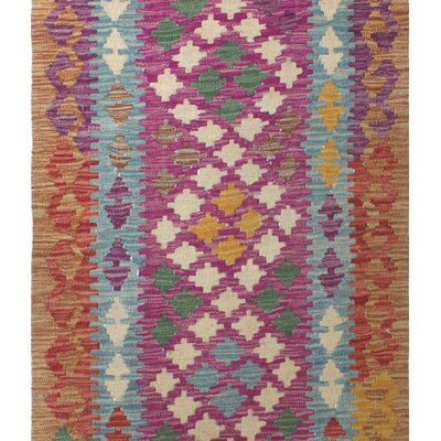One-of-a-Kind Vallejo Kilim Negin Hand-Woven Wool Purple Area Rug