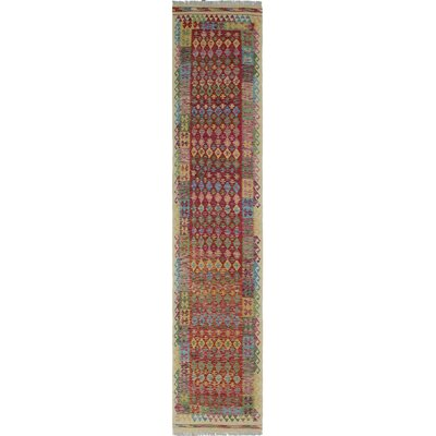 One-of-a-Kind Rucker Kilim Shan Hand-Woven Wool Red Area Rug