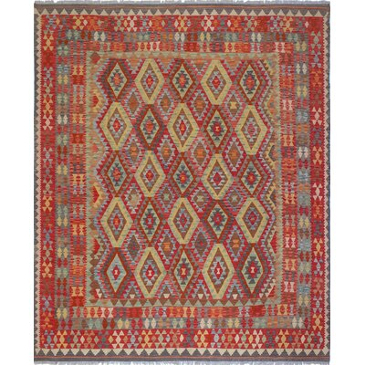 One-of-a-Kind Rucker Kilim Naweeda Hand-Woven Wool Red Area Rug