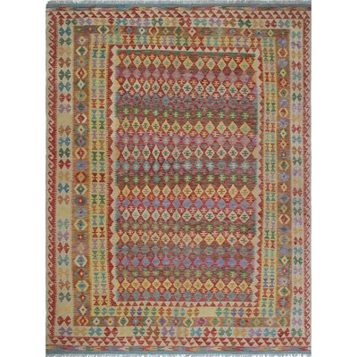 Vallejo Kilim Feroza Hand-Woven Wool Red Area Rug