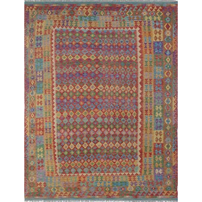 Vallejo Kilim Aseeb Hand-Woven Wool Red Area Rug