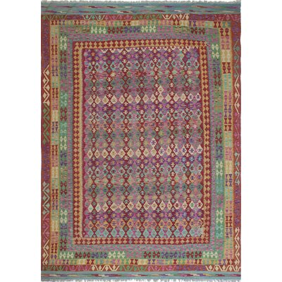 One-of-a-Kind Vallejo Kilim Tasleem Hand-Woven Wool Purple Area Rug