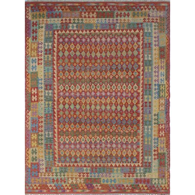 Vallejo Kilim Abagull Hand-Woven Wool Red Area Rug