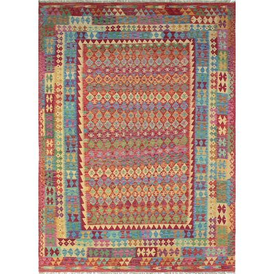 Vallejo Kilim Rohmal Hand-Woven Wool Red Area Rug