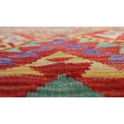 One-of-a-Kind Rucker Kilim Zaid Hand-Woven Wool Red Area Rug