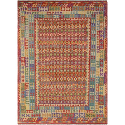 Vallejo Kilim Yalda Hand-Woven Wool Red Area Rug