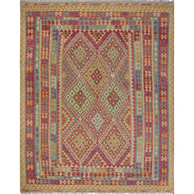 One-of-a-Kind Rucker Kilim Rostam Hand-Woven Wool Red Area Rug