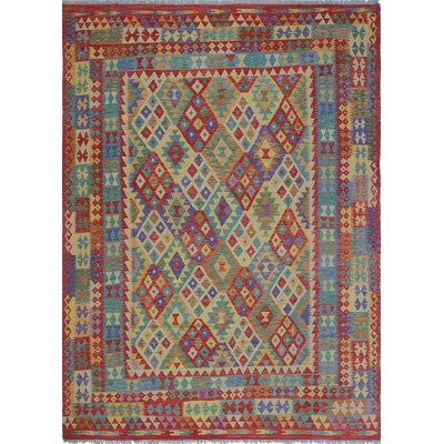Vallejo Kilim Zalaikah Hand-Woven Wool Red Area Rug