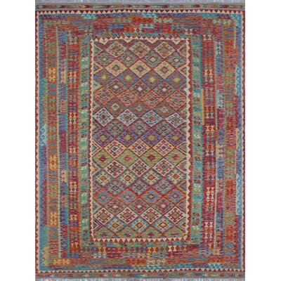 Vallejo Kilim Parviz Hand-Woven Wool Red Area Rug