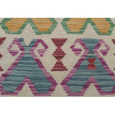 One-of-a-Kind Vallejo Kilim Anila Hand-Woven Wool Ivory Area Rug