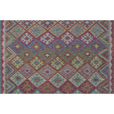 One-of-a-Kind Vallejo Kilim Karma Hand-Woven Wool Ivory Area Rug