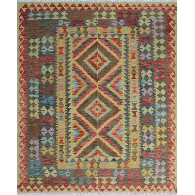 One-of-a-Kind Rucker Kilim Malia Hand-Woven Wool Gold Area Rug