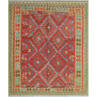 Vallejo Kilim Mirdad Hand-Woven Wool Red Area Rug