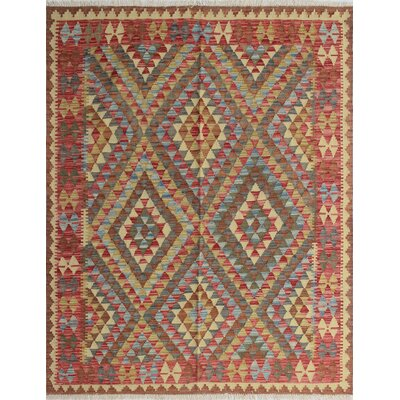 Vallejo Kilim Bakhshi Hand-Woven Wool Red/Green Area Rug