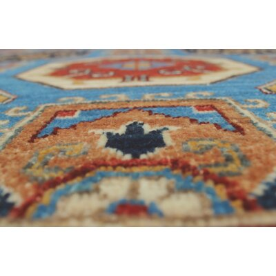 Woodmoor Zazai Hand-Knotted Wool Blue Area Rug