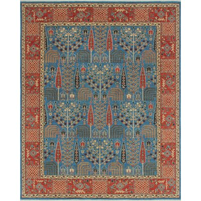 Woodmoor Nabila Hand-Knotted Wool Blue Area Rug