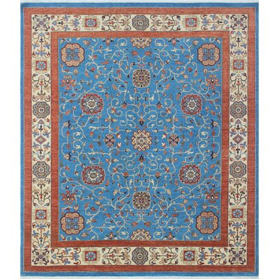 Woodmoor Fawad Hand-Knotted Wool Blue Area Rug