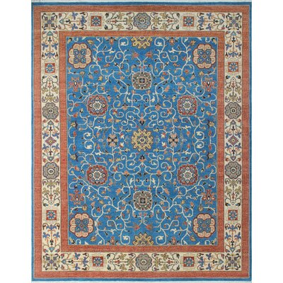 Woodmoor Nasir Hand-Knotted Wool Blue Area Rug
