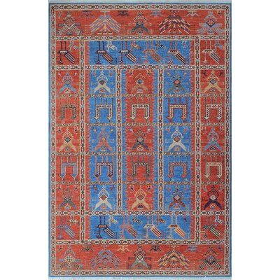 One-of-a-Kind Woodmoor Pashtun Hand-Knotted Wool Blue Area Rug