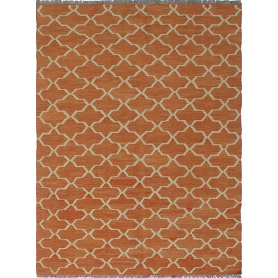 One-of-a-Kind Troy Bebeghul Hand-Woven Wool Orange Area Rug