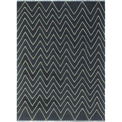 Troy Wakel Hand-Woven Wool Black Area Rug