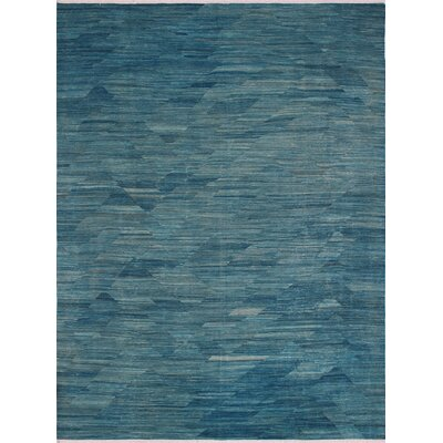 One-of-a-Kind Ackworth Hussaini Hand-Woven Wool Blue Area Rug