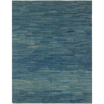 Ackworth Shafiq Hand-Woven Wool Blue Area Rug